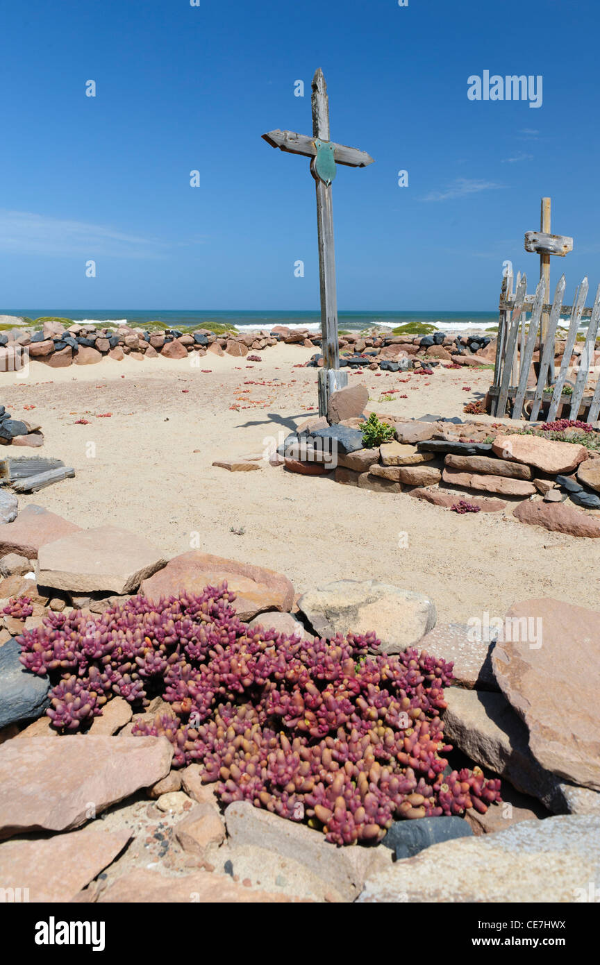 A neglected cemetery at Cape Cross. Skeleton Coast, Namibia. - Stock Image