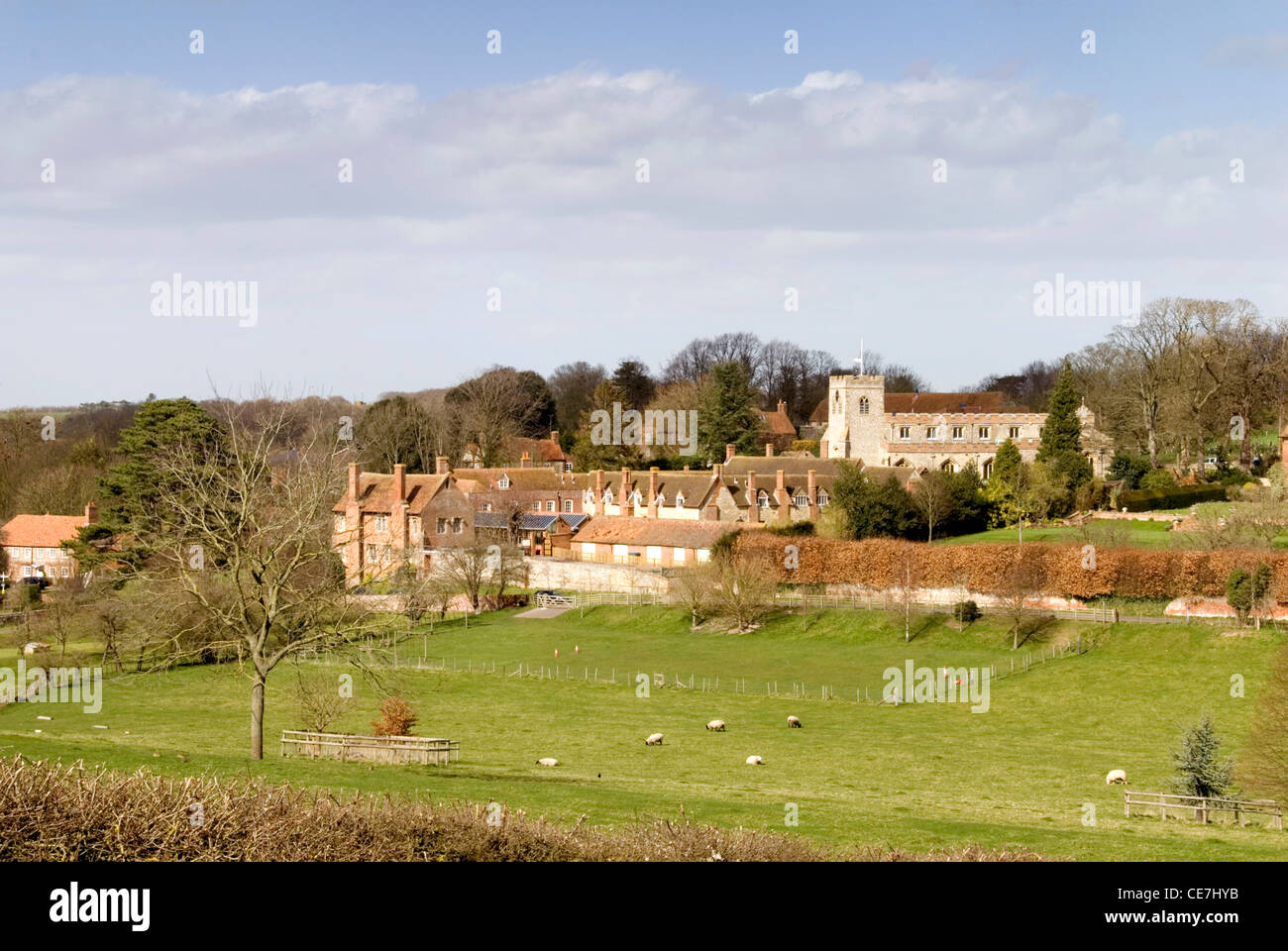 Chiltern Hills -Oxon - Ewelme village - a view across the fields to its hill top setting - Stock Image