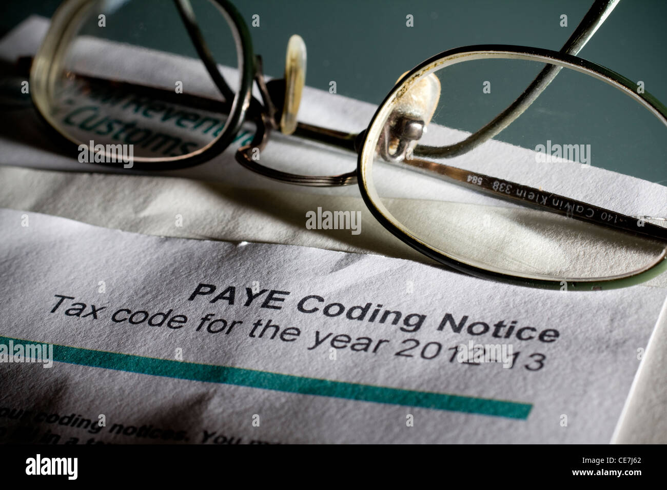 paye coding notice for the year 2012-2013 - Stock Image