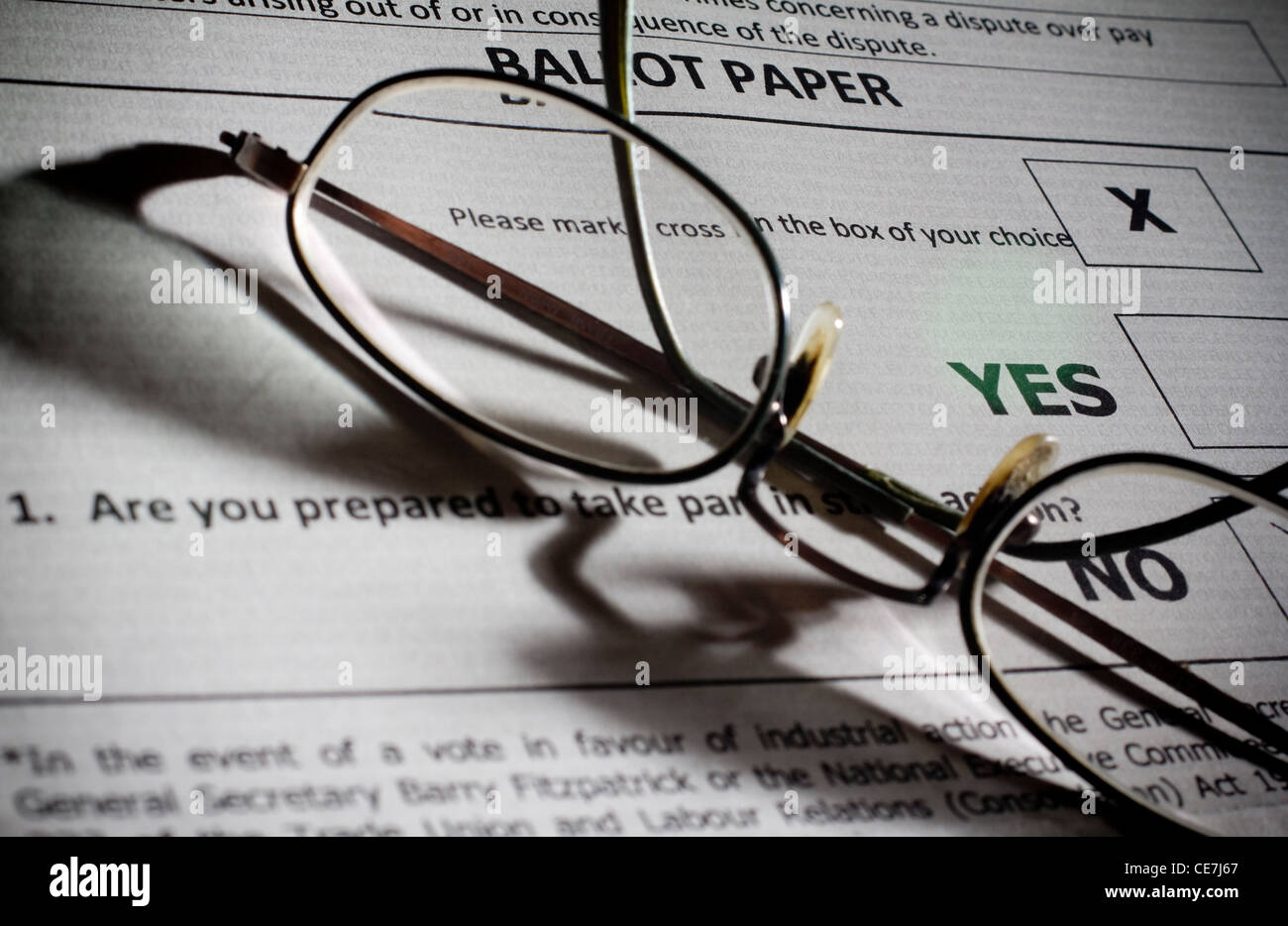 UK ballot paper for strike action industrial dispute - Stock Image