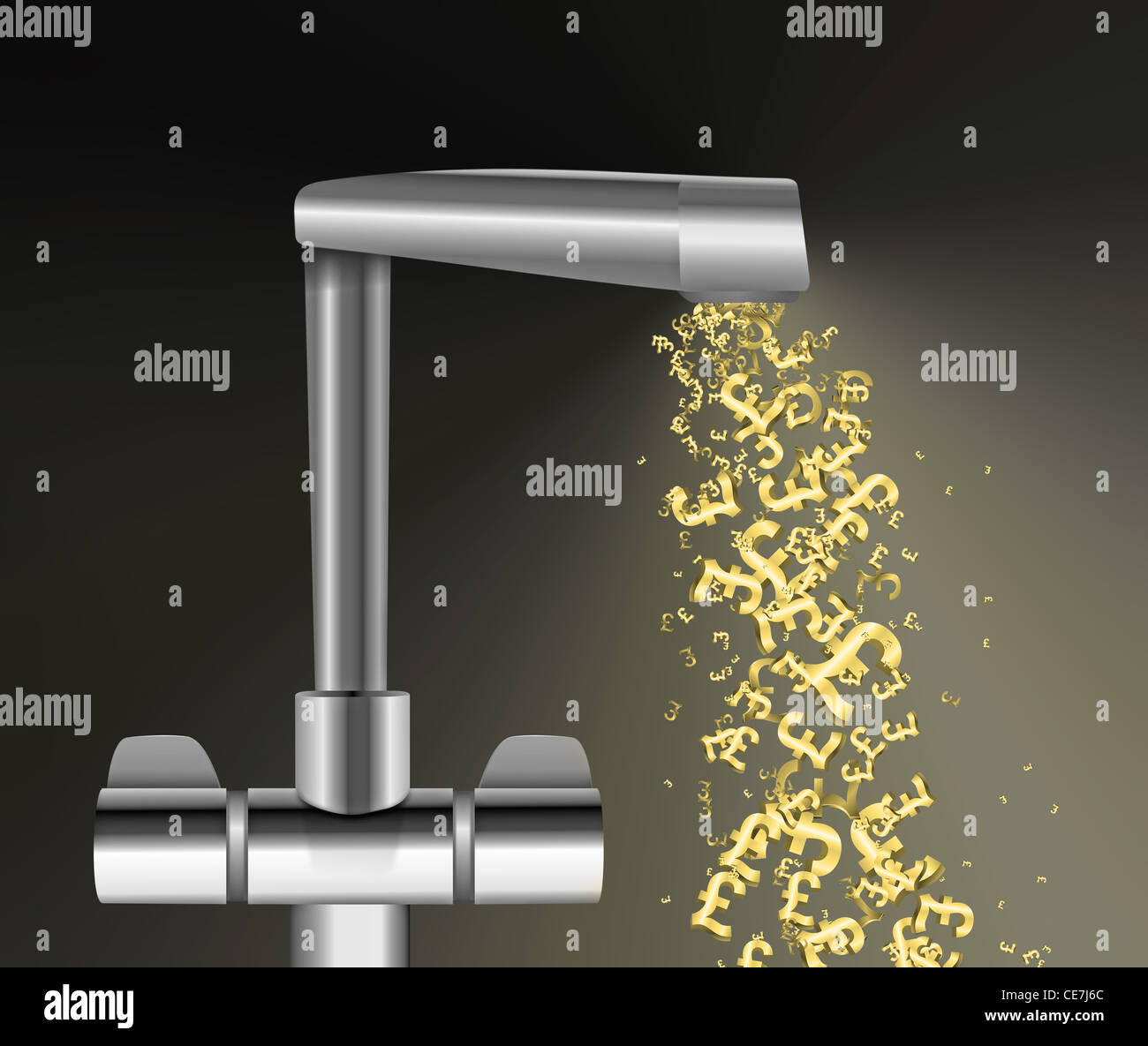 Illustration depicting a chrome water tap with metallic gold UK Pound Signs flowing from the spout against a dark Stock Photo