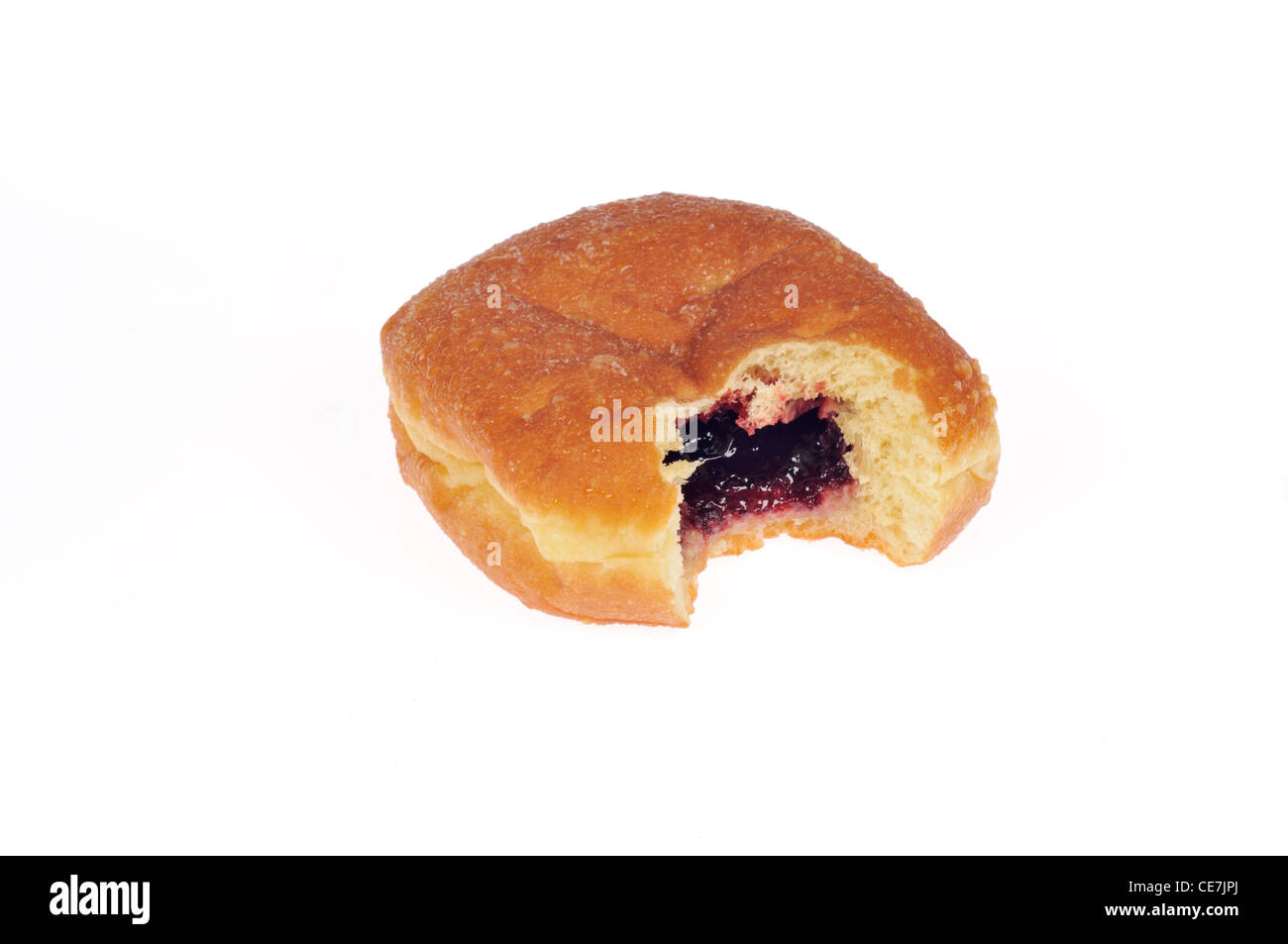 Single jelly-filled donut with bite taken out of it on white background cutout - Stock Image