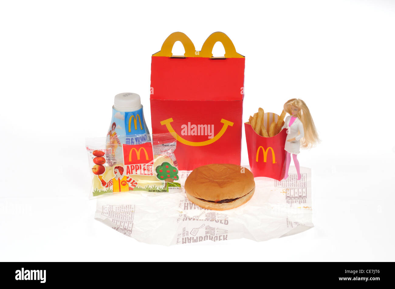 McDonald's Barbie Happy Meal on white background cutout - Stock Image