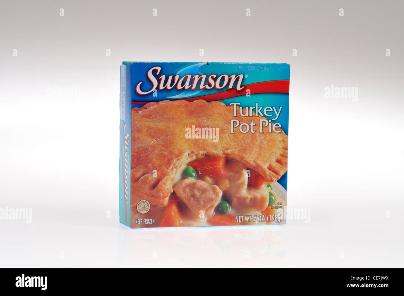 Swanson frozen turkey pot pie tv dinner in packaging on white background cutout. USA - Stock Image
