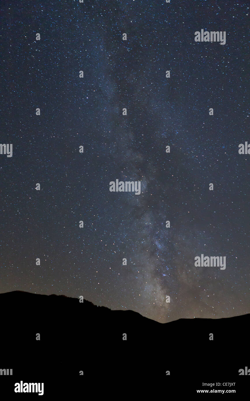 The Milky Way in August night sky. Pyrenees. Andorra. - Stock Image