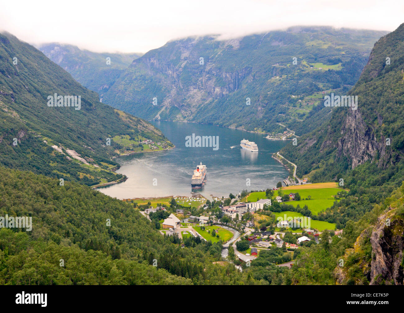 View from Trollstigen Viewpoint on the Geiranger Fjord, near Hellesylt, Norway - Stock Image