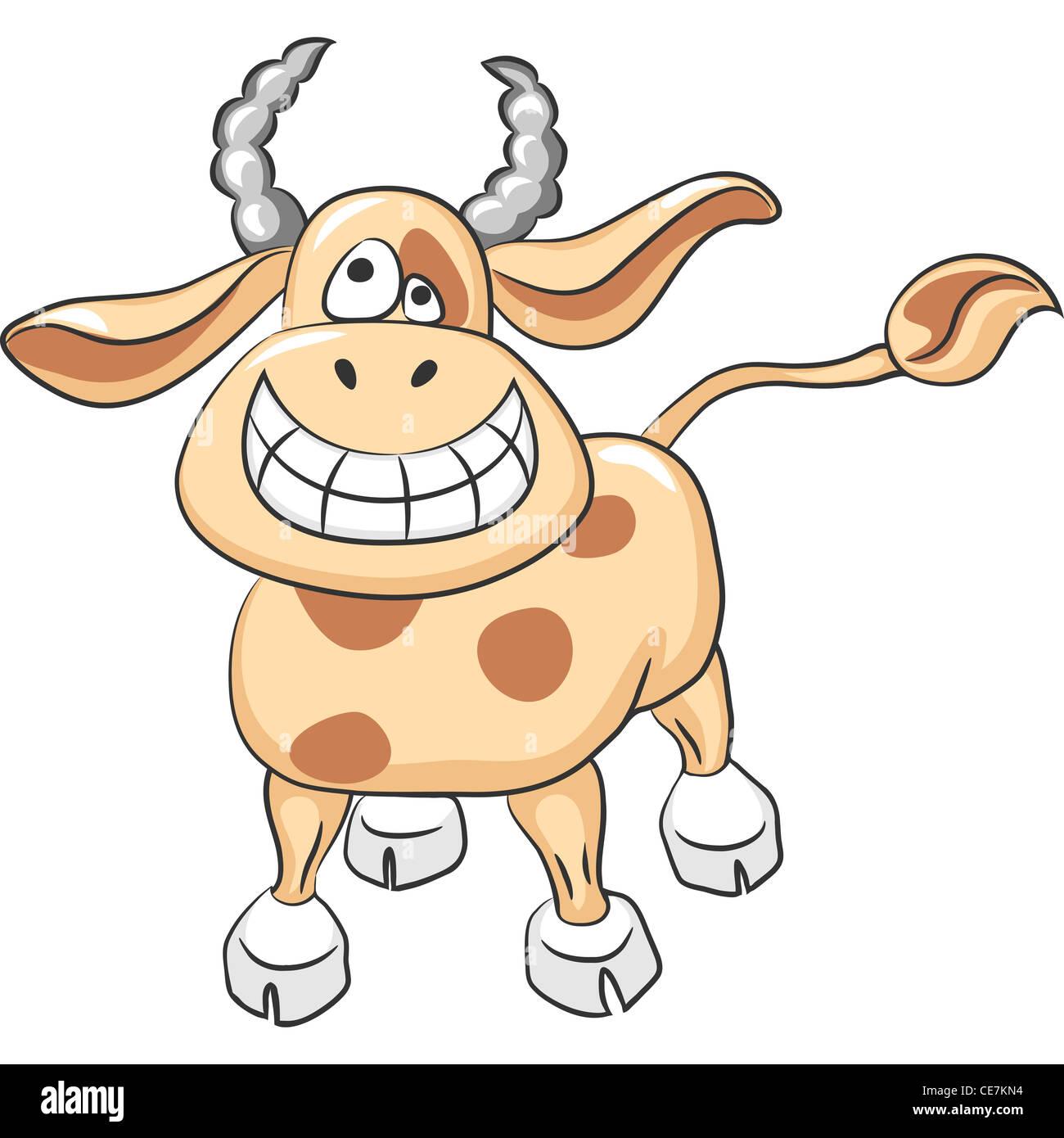 cartoon Funny cow smile - Stock Image