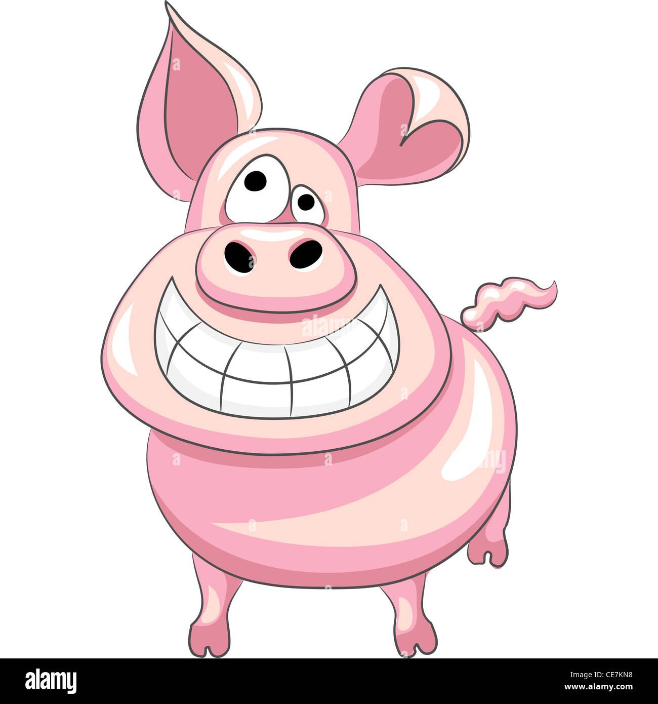 funny cartoon happy pig smile - Stock Image