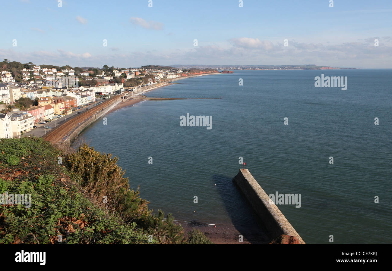 A view of Dawlish seafront looking up the coast - Stock Image