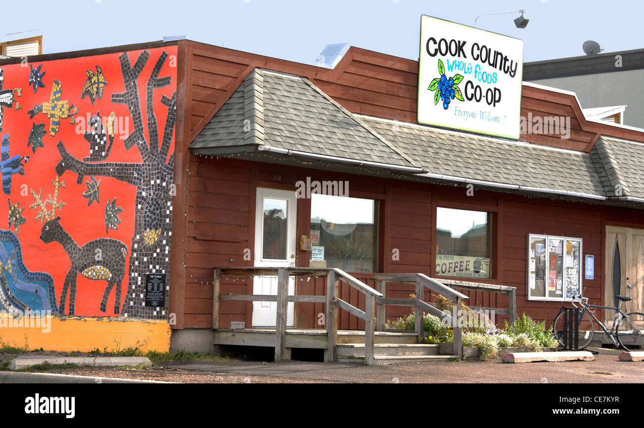 Cook County Whole Foods Co-Op in Grand Marais, Minnesota on the North Shore along Lake Superior - Stock Image