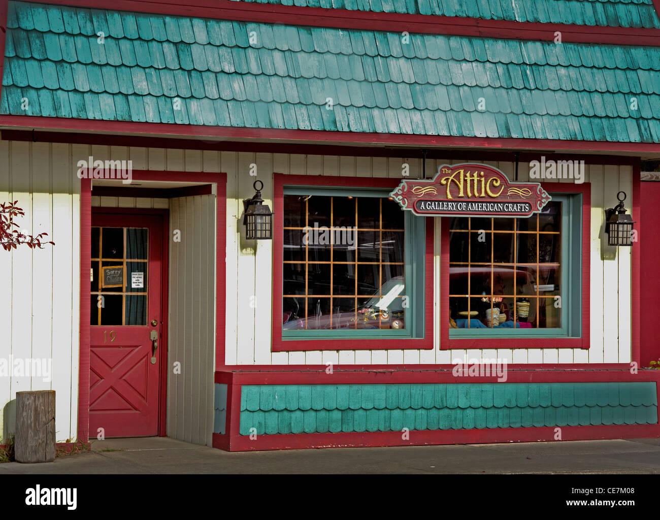 The Attic art and craft shop in Grand Marais, Minnesota on the North Shore along Lake Superior - Stock Image