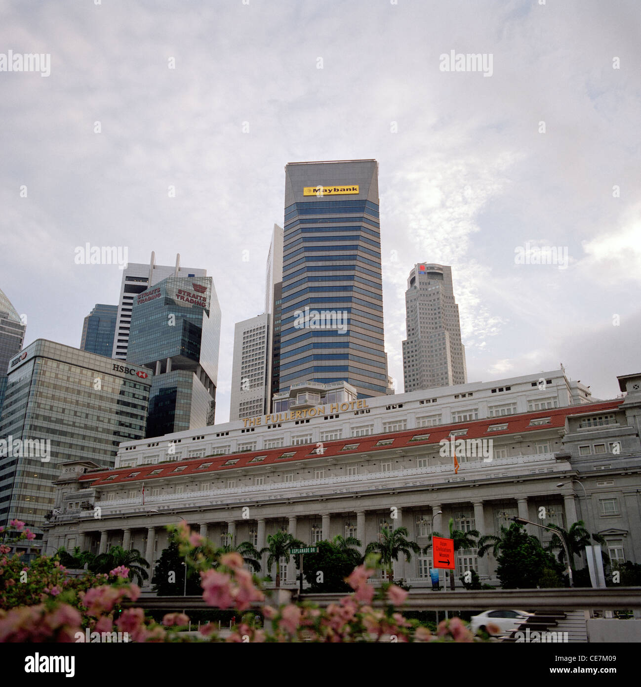 Fullerton Hotel in Central Business District CBD in the Marina Bay area of the city of Singapore in Far East Southeast - Stock Image