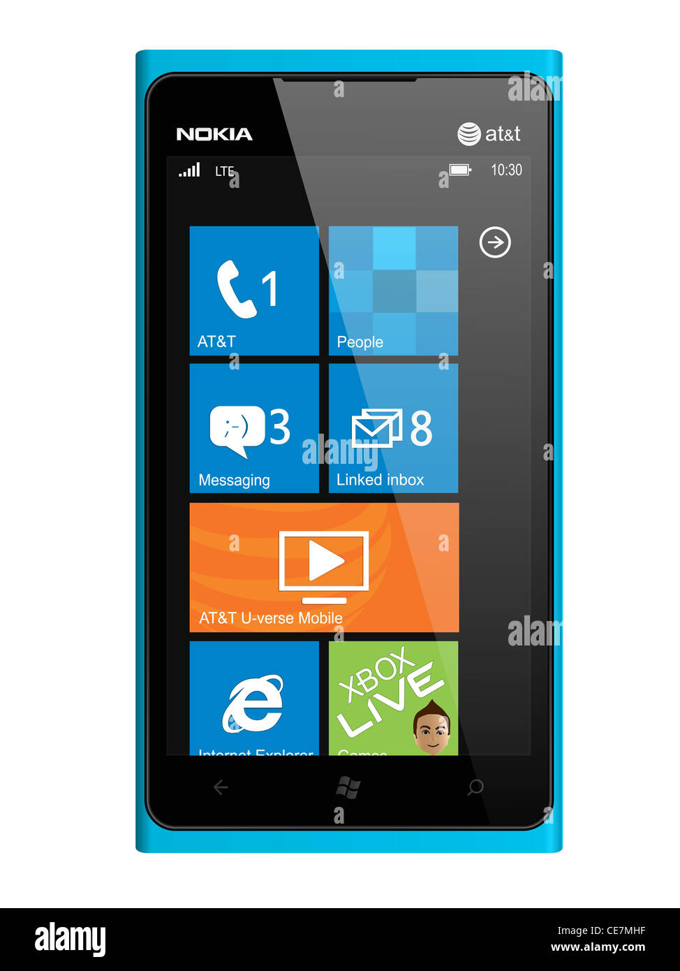 New Nokia smartphone design in blue. Featuring Windows Phone OS, handsets Lumia 900. - Stock Image