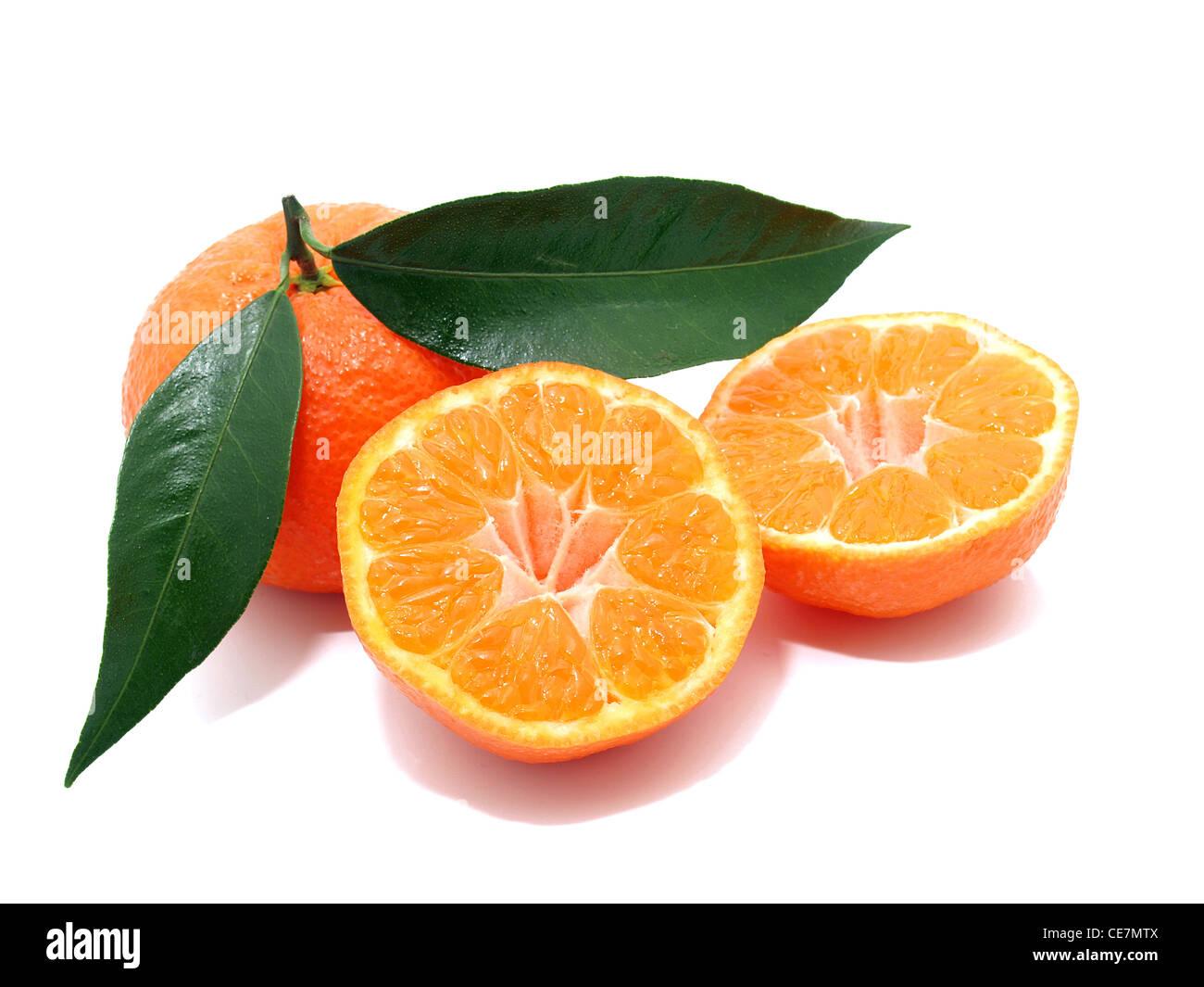 Mandarin isolated on a white background - Stock Image