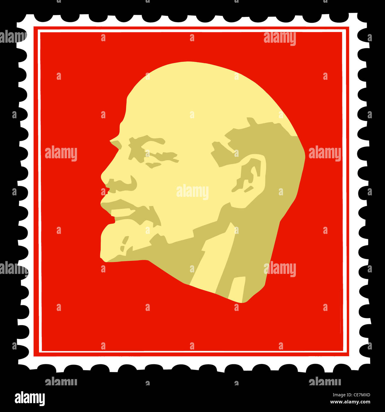 Vector Silhouette Lenin On Postage Stamps