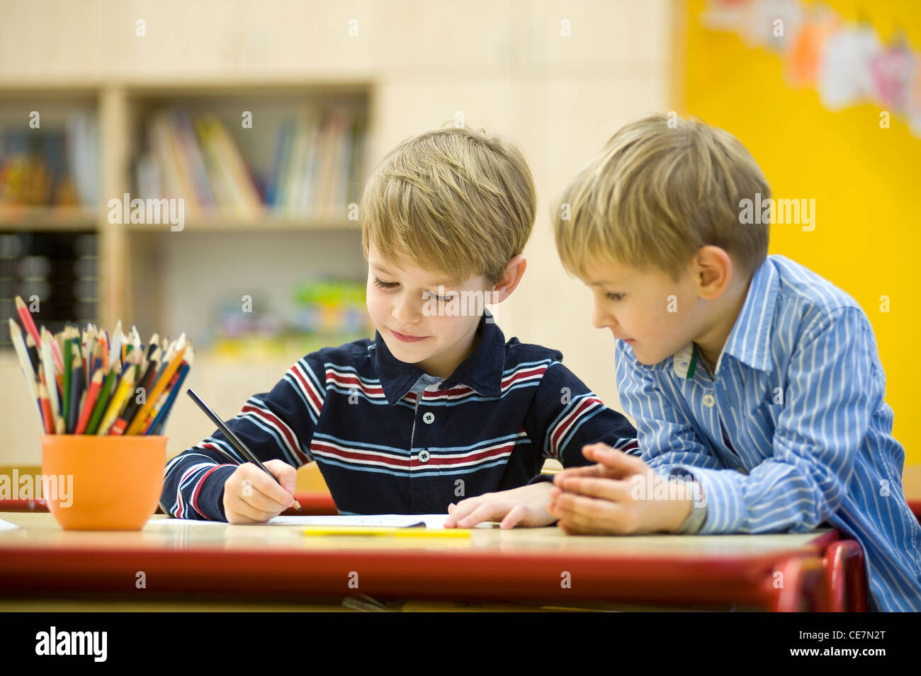 Brothers at primary school - Stock Image