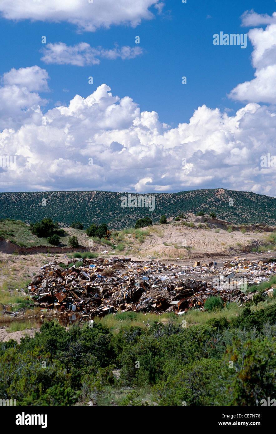 Town dump & landfill, Truchas, New Mexico, USA - Stock Image