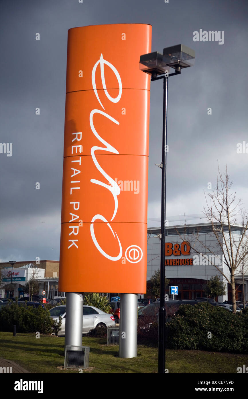 Euro retail park sign, Ispwich - Stock Image