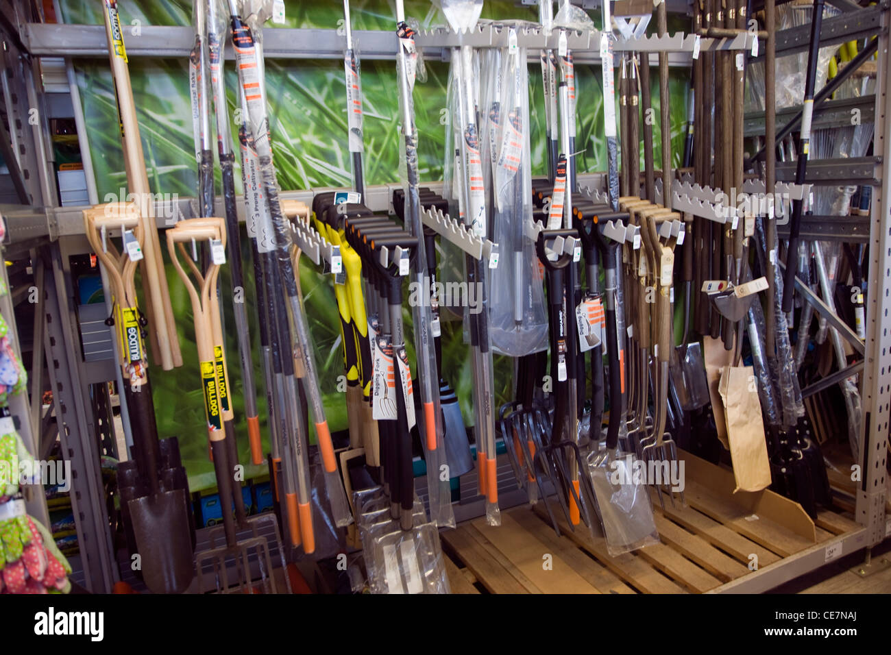 Garden forks spades on sale garden centre - Stock Image