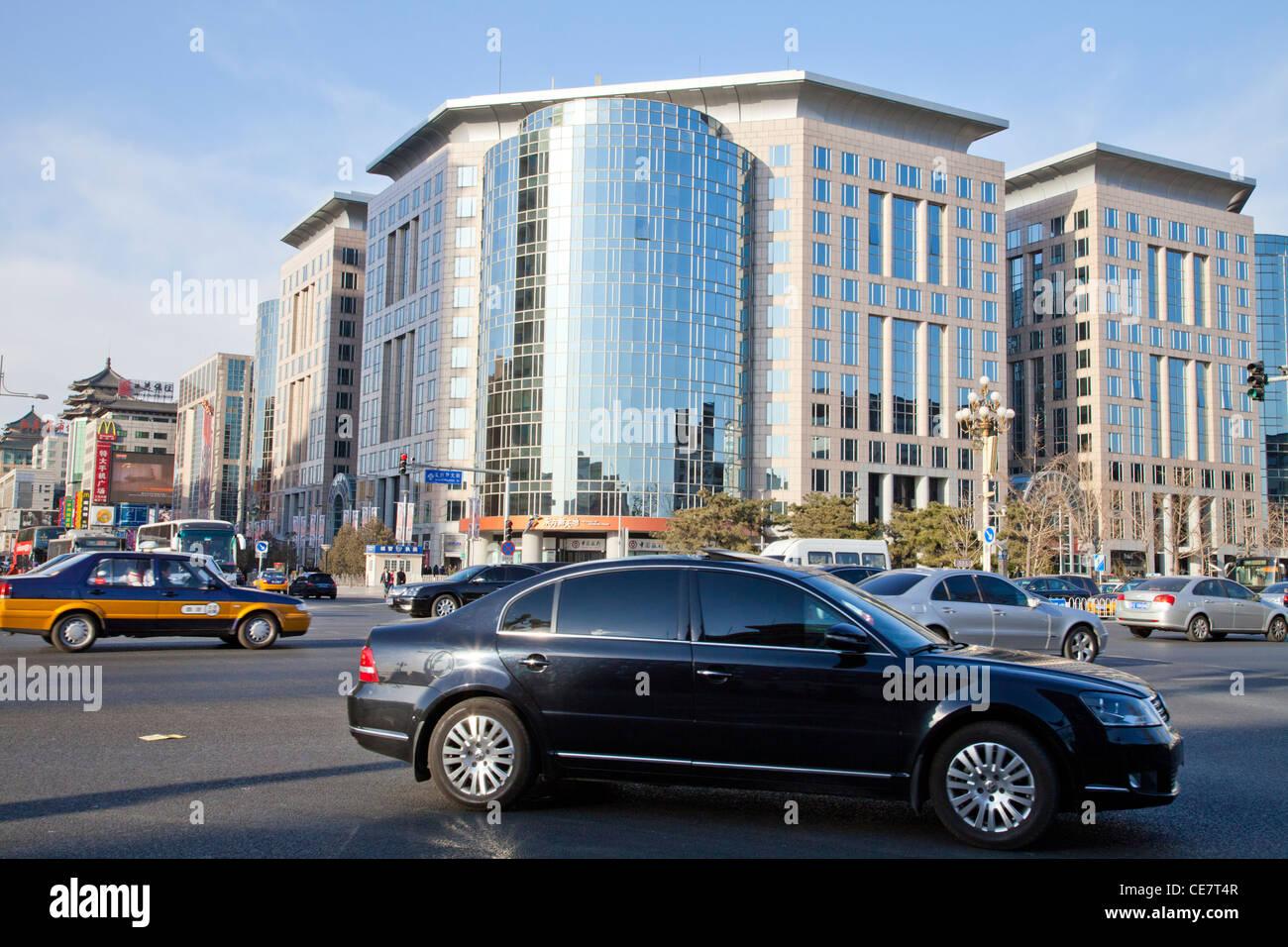 Luxury shopping mall Oriental Plaza in Wangfujing Street, Beijing, and traffic. - Stock Image
