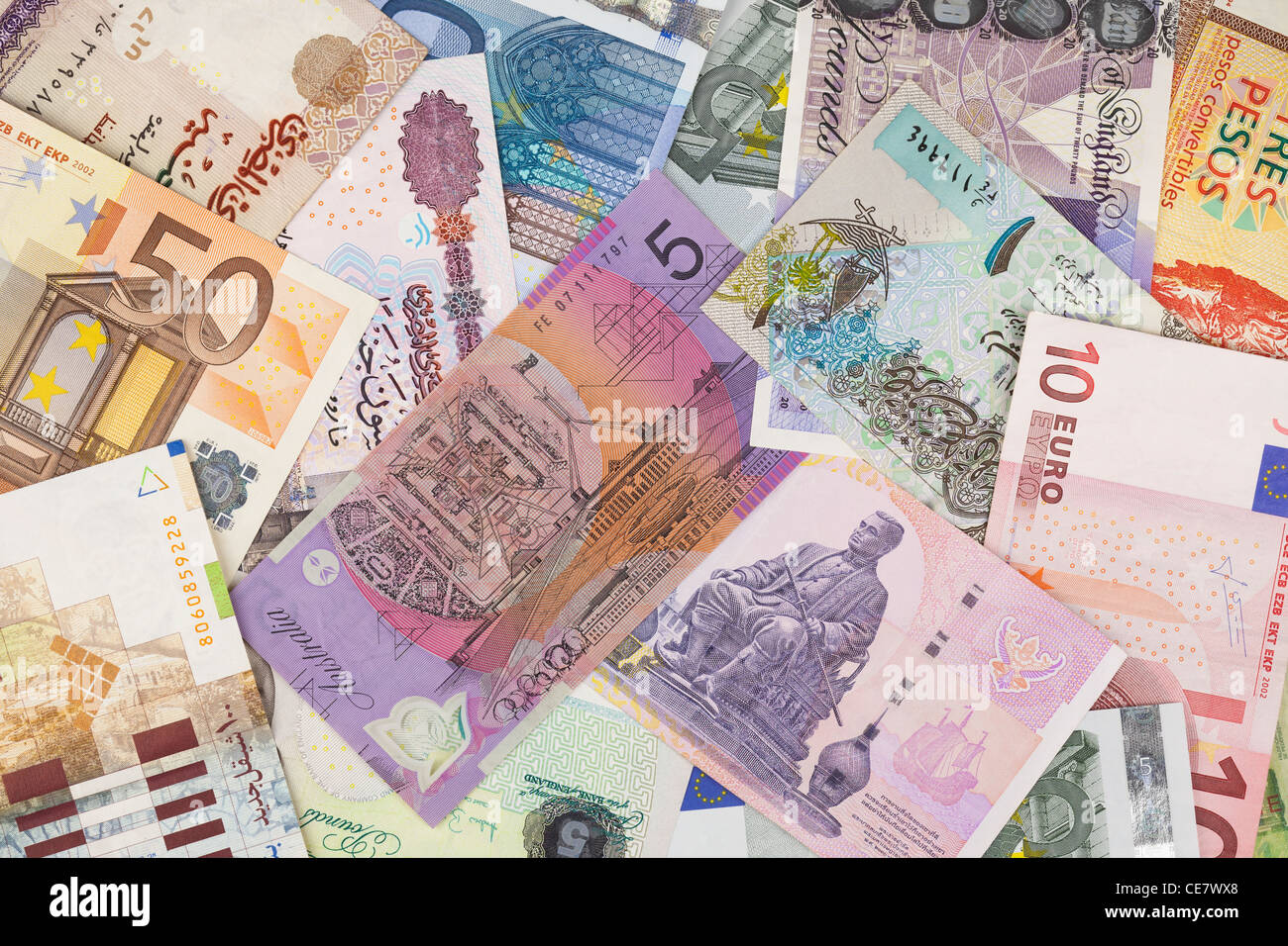 International currency banknotes - Stock Image