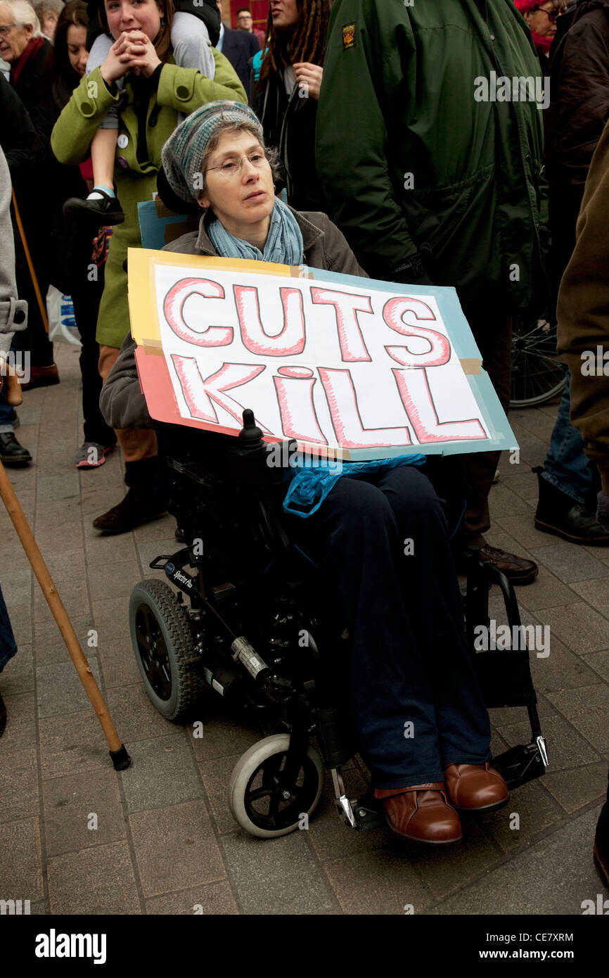 Disabled & able bodied demonstrators block Oxford Circus in central London. Protesting against the Cuts and Welfare Stock Photo