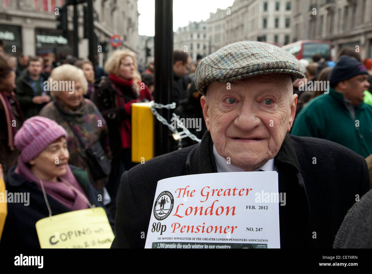 Greater London Pensioners Association join in the protest in support of demonstration against cuts and the Welfare Stock Photo