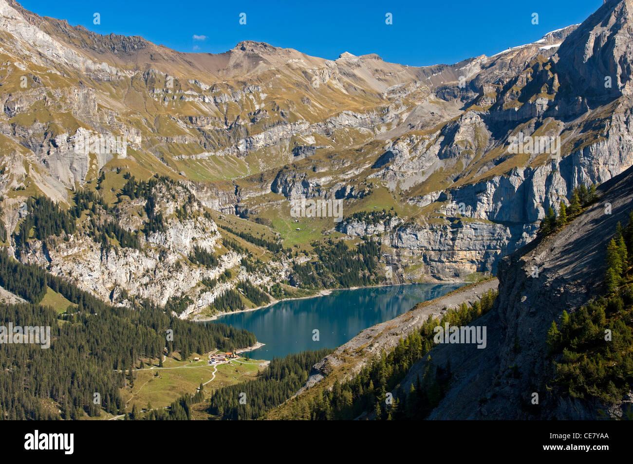 Lake Oeschinenensee at the UNESCO World Heritage site Swiss Alps, Kandersteg, Bernese Oberland, Switzerland - Stock Image
