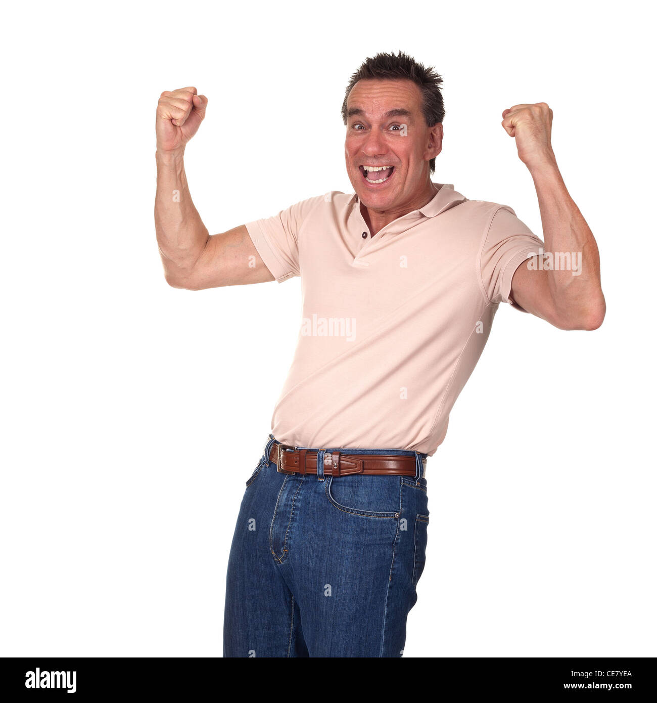 Happy Excited Attractive Middle Age Man Punching Air with Fists - Stock Image