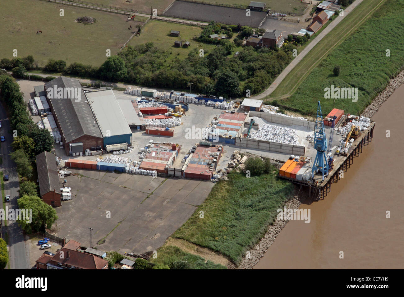 Aerial photograph of Burton Stather dock, Lincolnshire - Stock Image