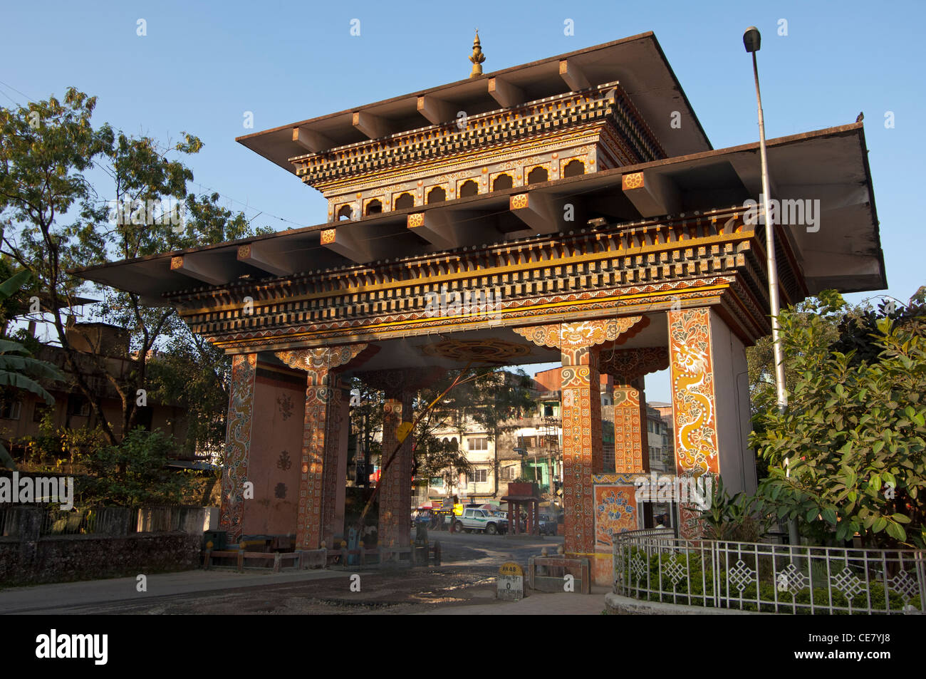 The Gate of Bhutan at the border between India and Bhutan in Phuentsholing, Bhutan - Stock Image