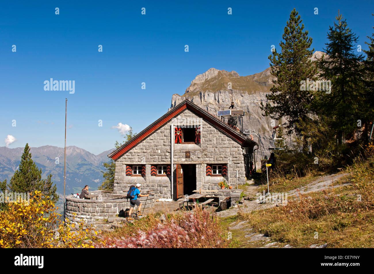 Mountain refuge Doldenhornhuette of the Swiss Alpine Club SAC, Kandersteg, Bernese Oberland, Switzerland - Stock Image