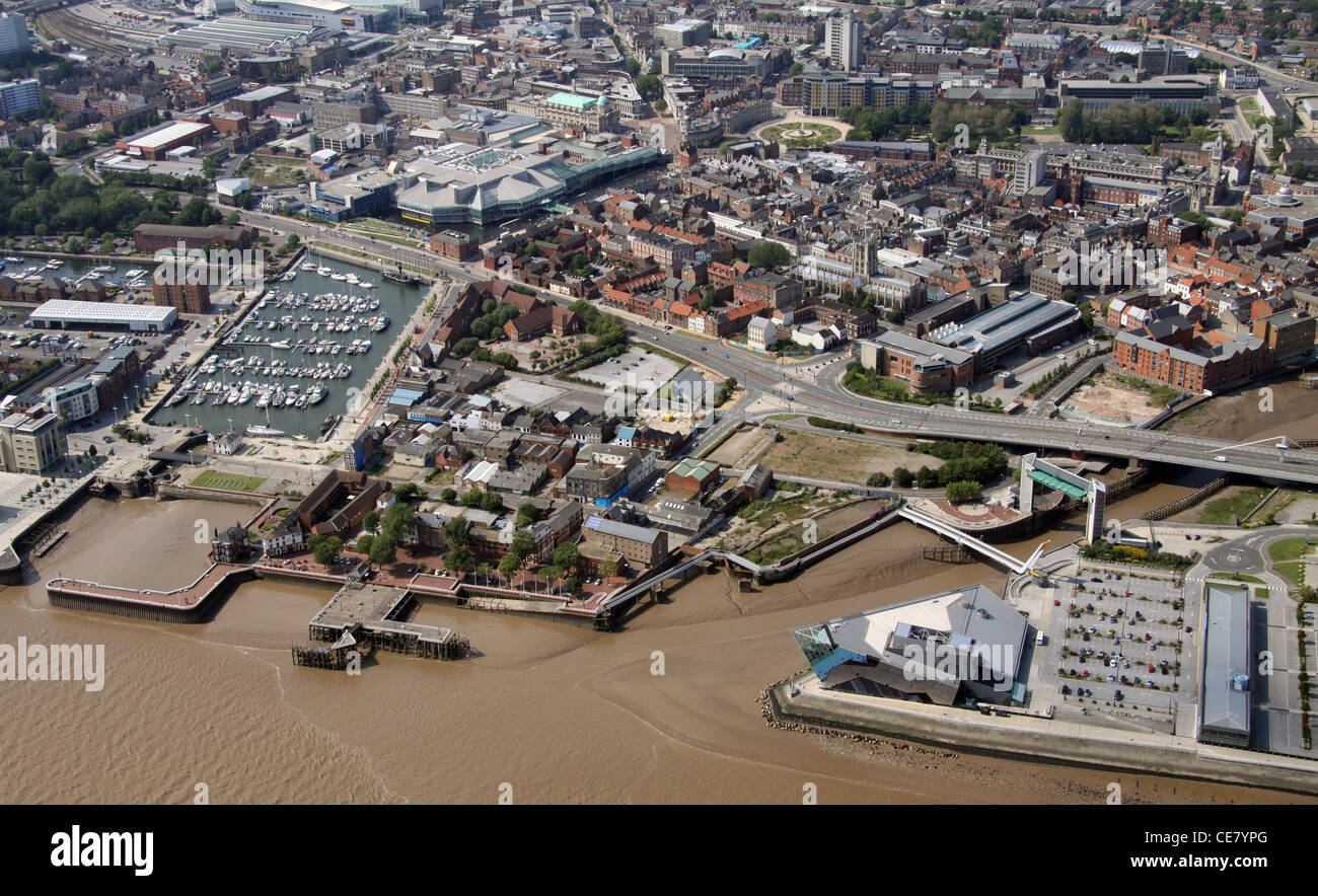 Aerial photograph of Hull City Centre - Stock Image