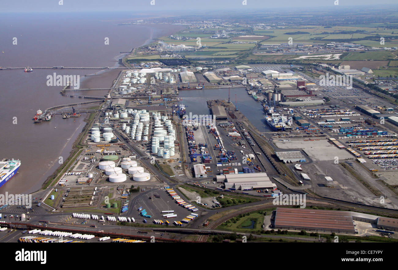 Aerial view of Immingham Docks, Lincolnshire - Stock Image