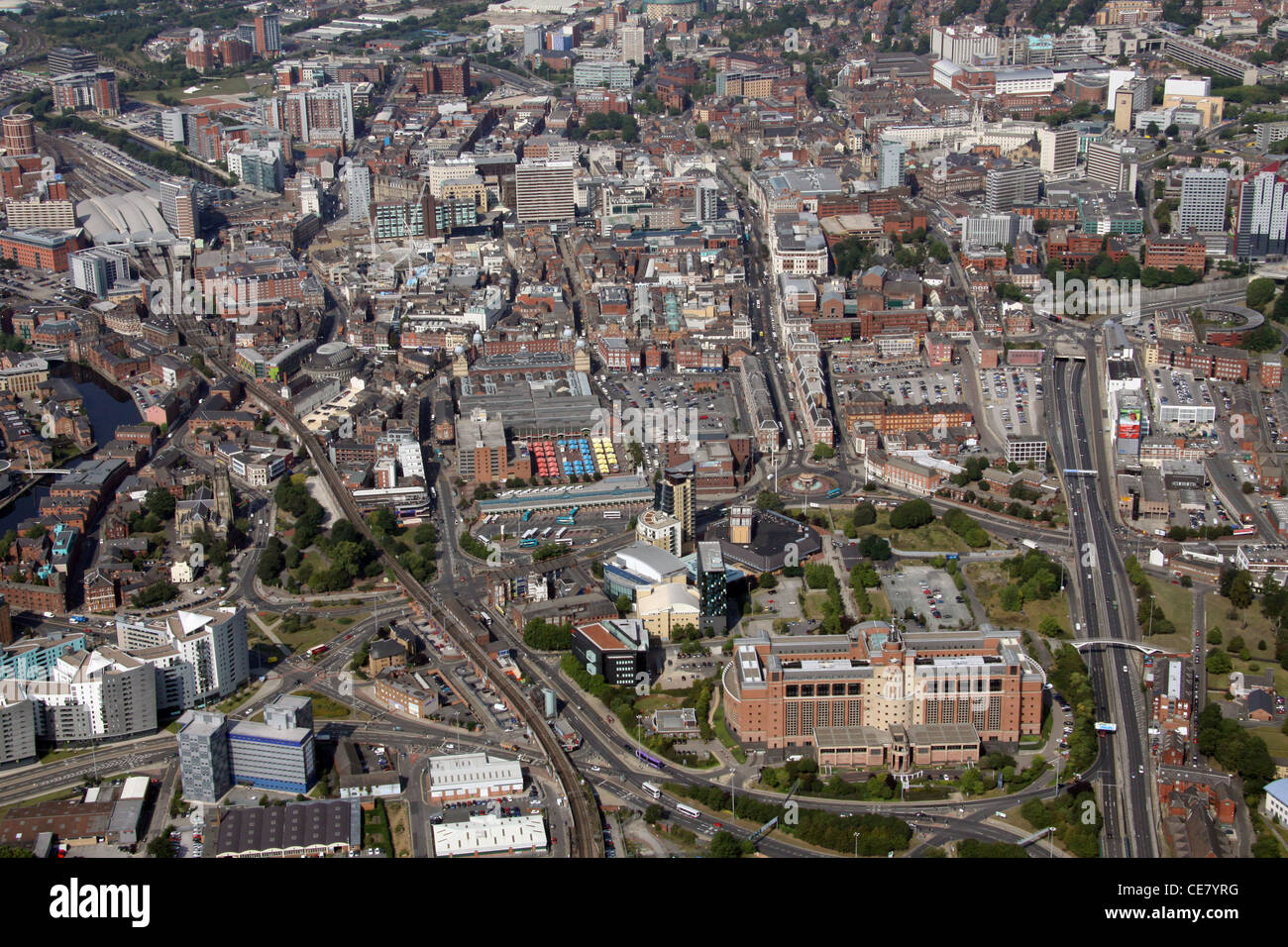 Aerial Photograph of Leeds City Centre from the east looking west across the city - Stock Image