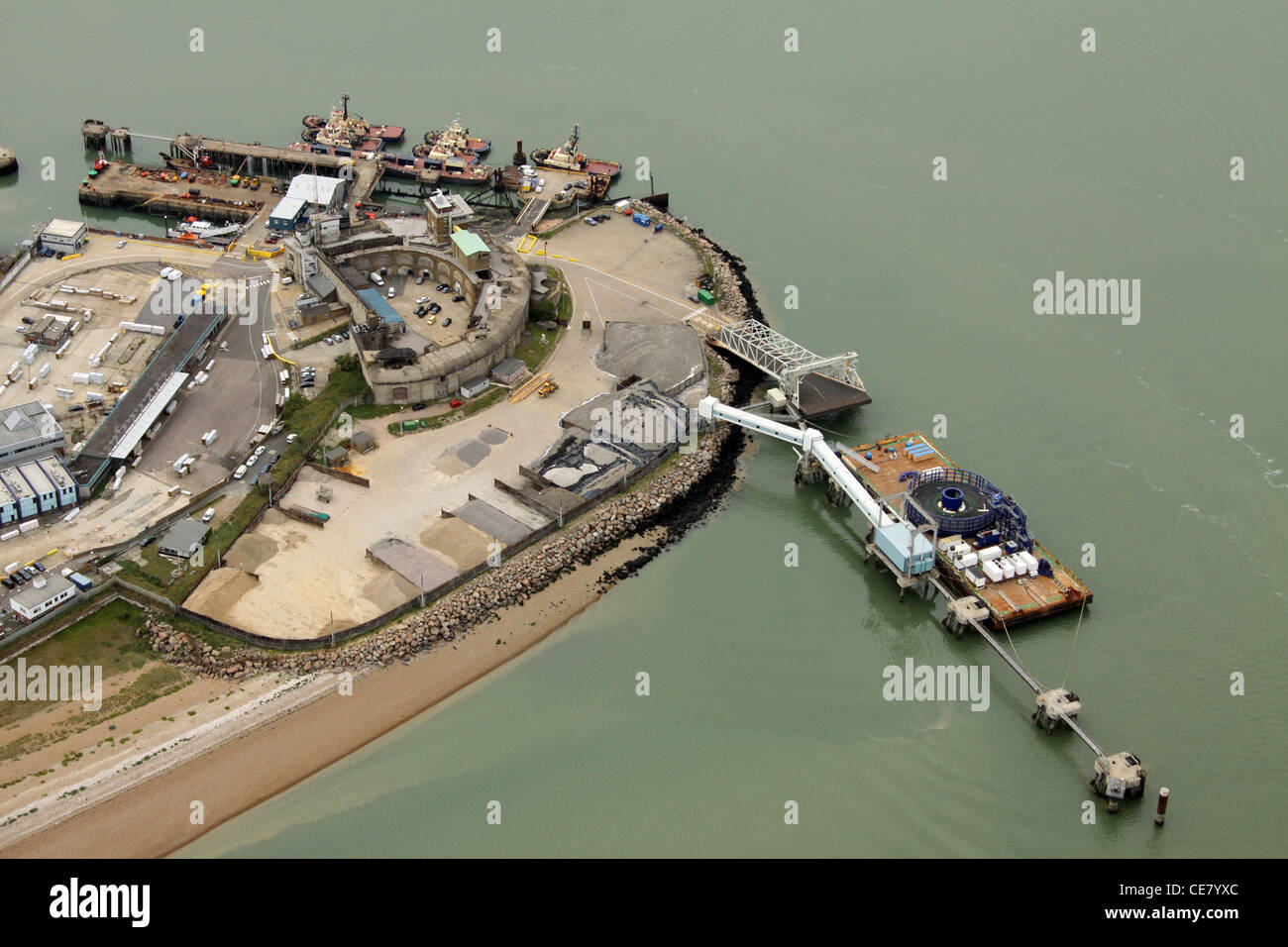 Aerial view of Sheerness docks in Kent - Stock Image