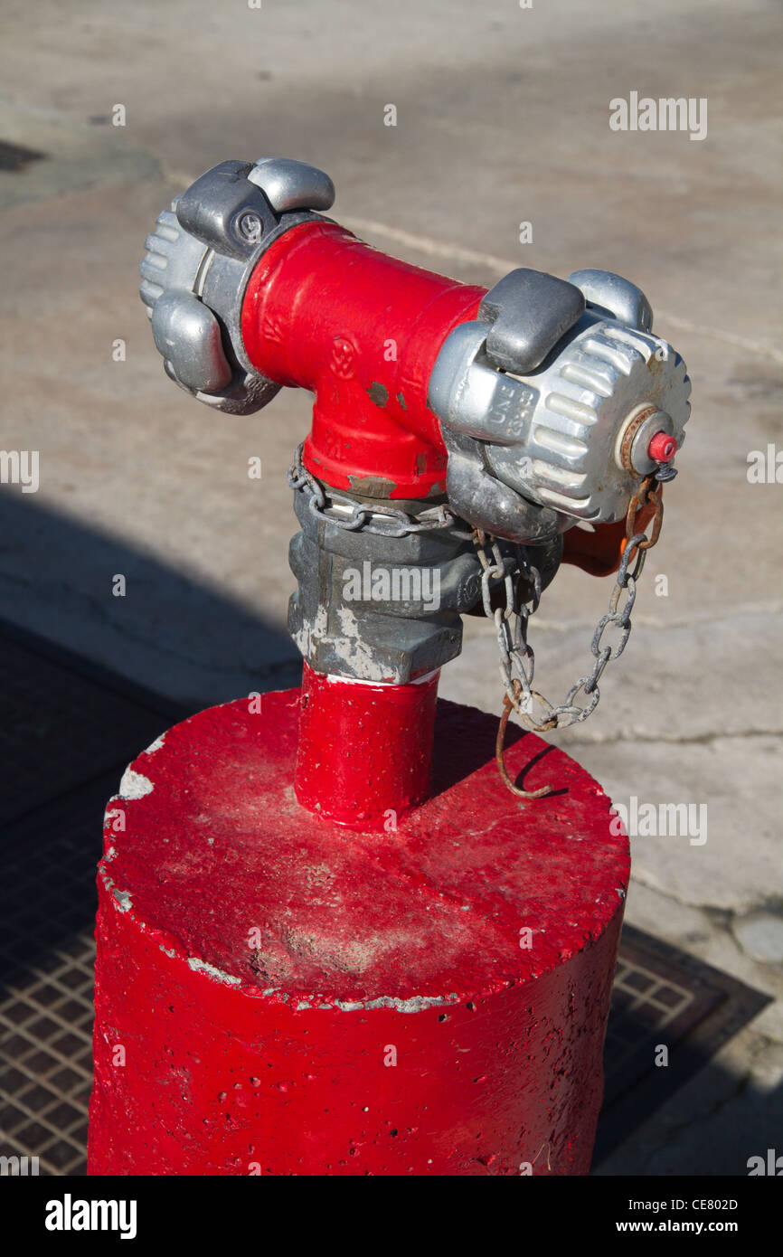'Fire Hydrant' Hydrant extinguish on dock outdoor - Stock Image