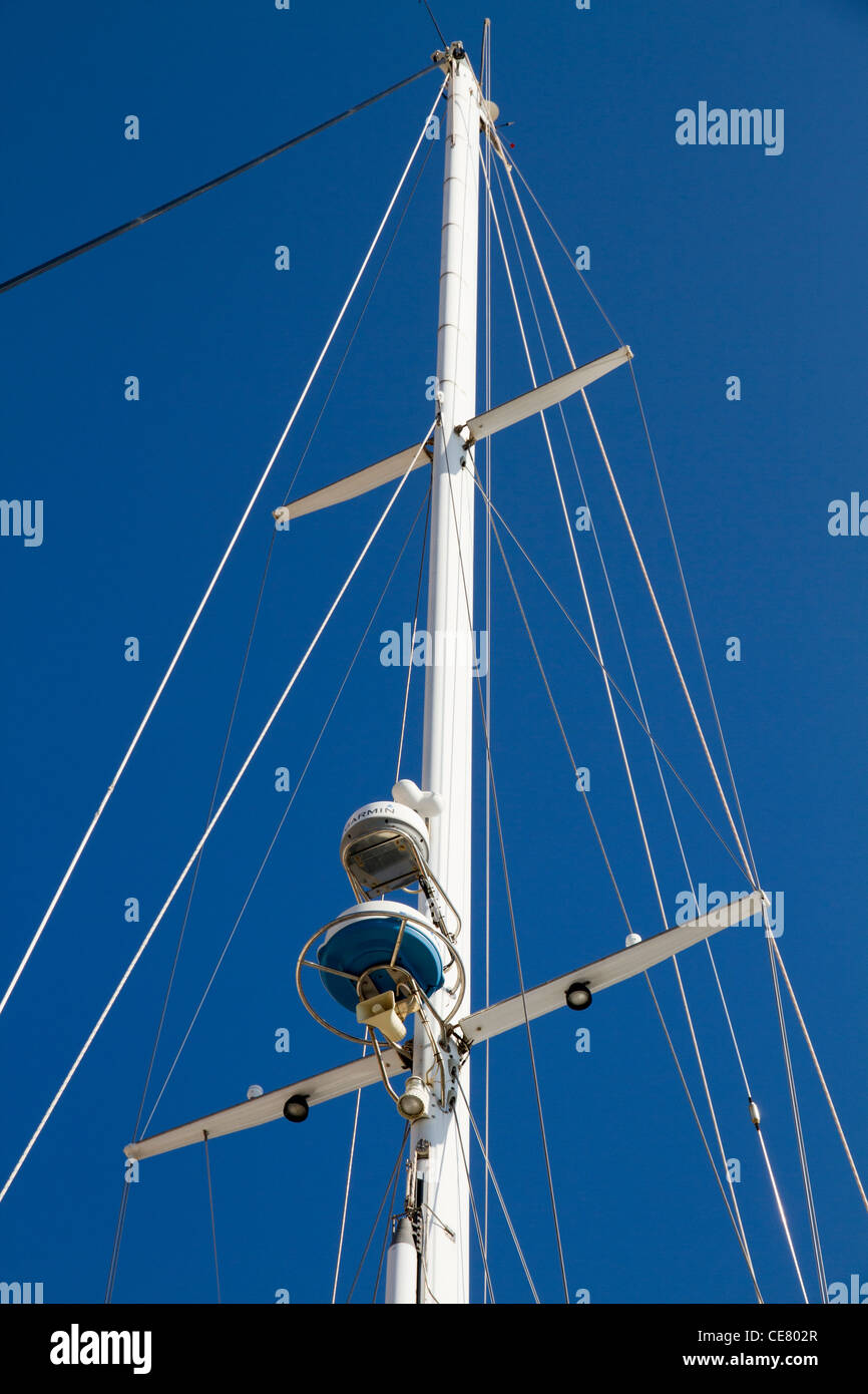 radar and safety equipment equipments for navigation on mast of luxury yacht - Stock Image