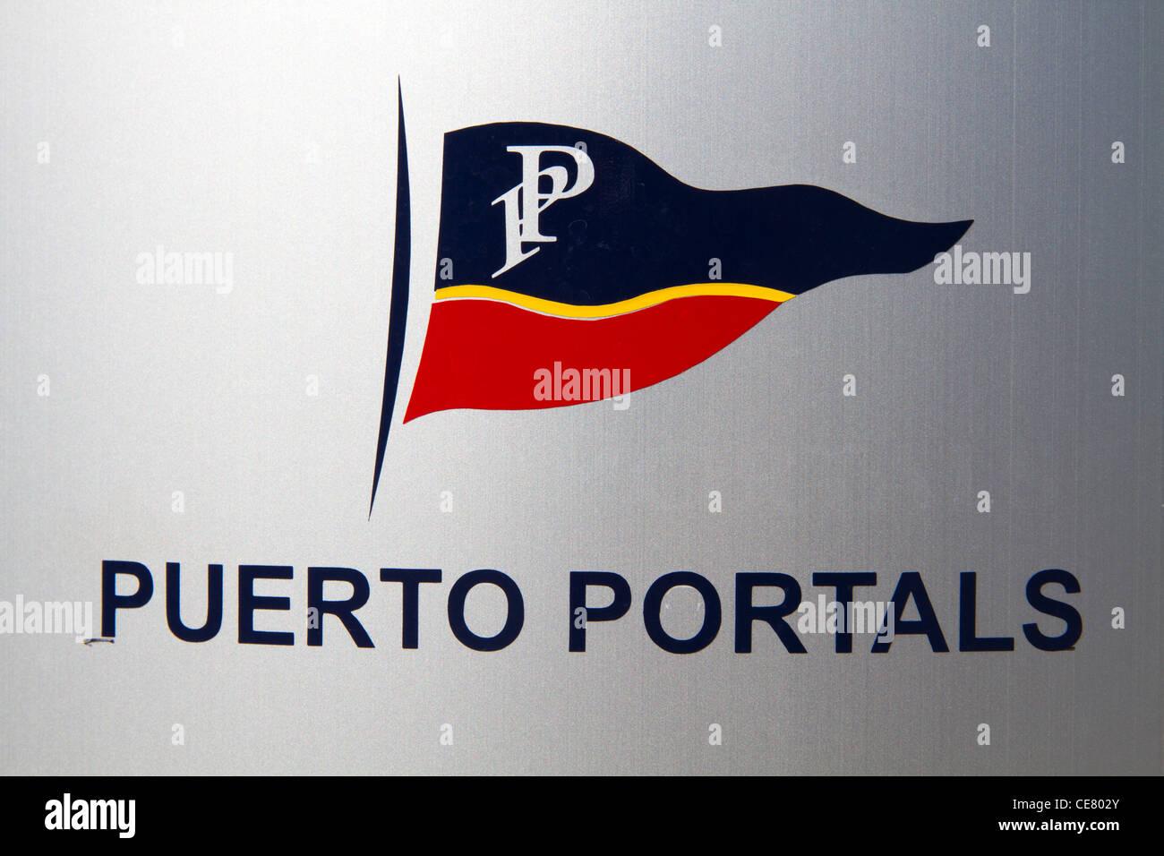 Puerto Portals sign and flag Majorca Mallorca Balearic Spain Europe Mediterranean - Stock Image