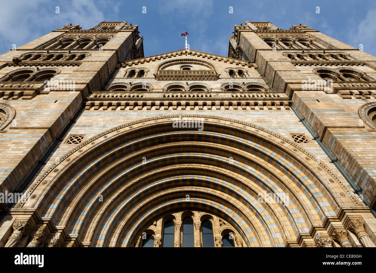 Natural History Museum, London and the ornate terracotta facade - Stock Image