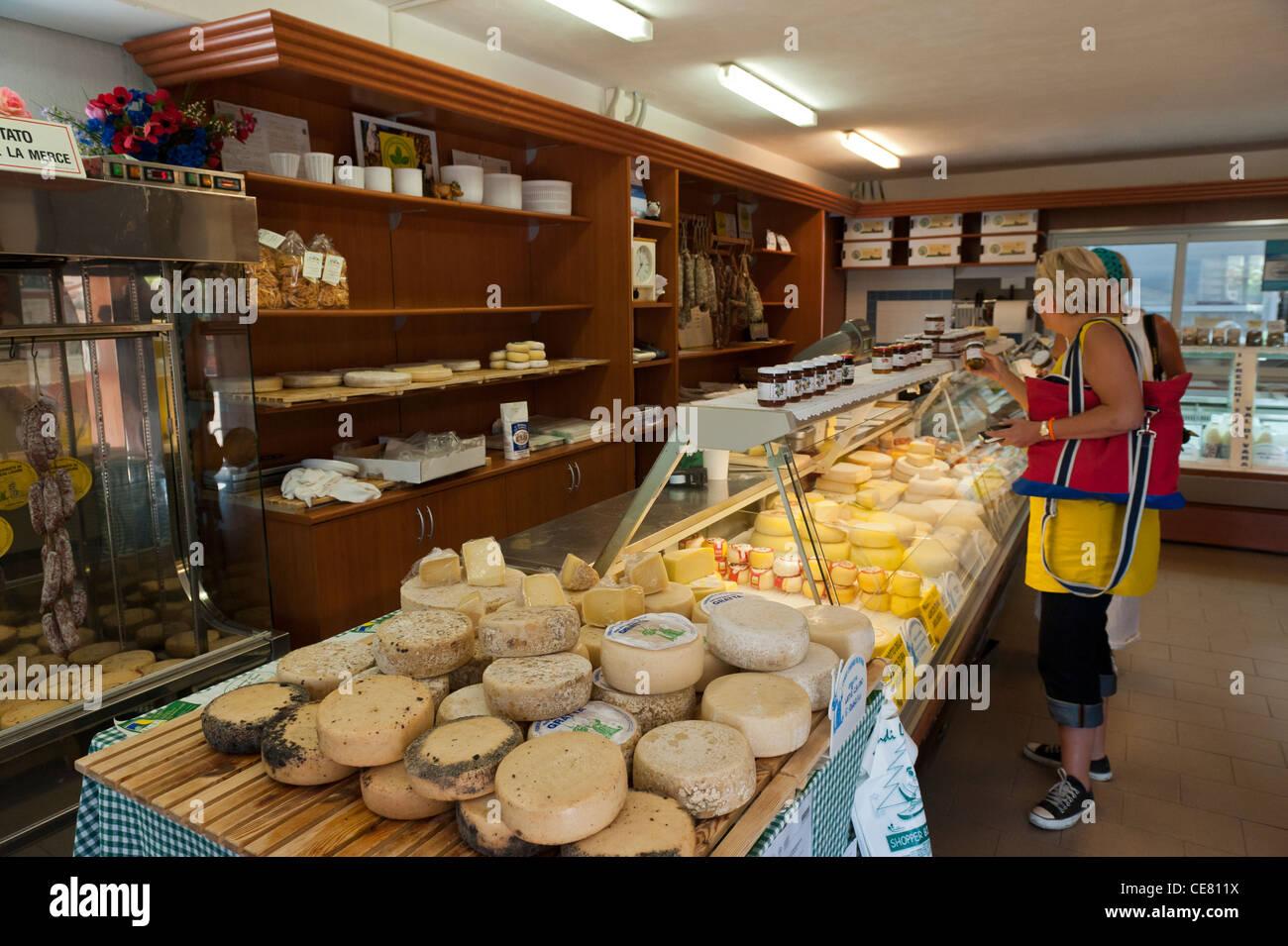 Local cheeses on sale at the Cooperativa Casearia. Val di Vara. Verese Ligure. Liguria. Italy Stock Photo