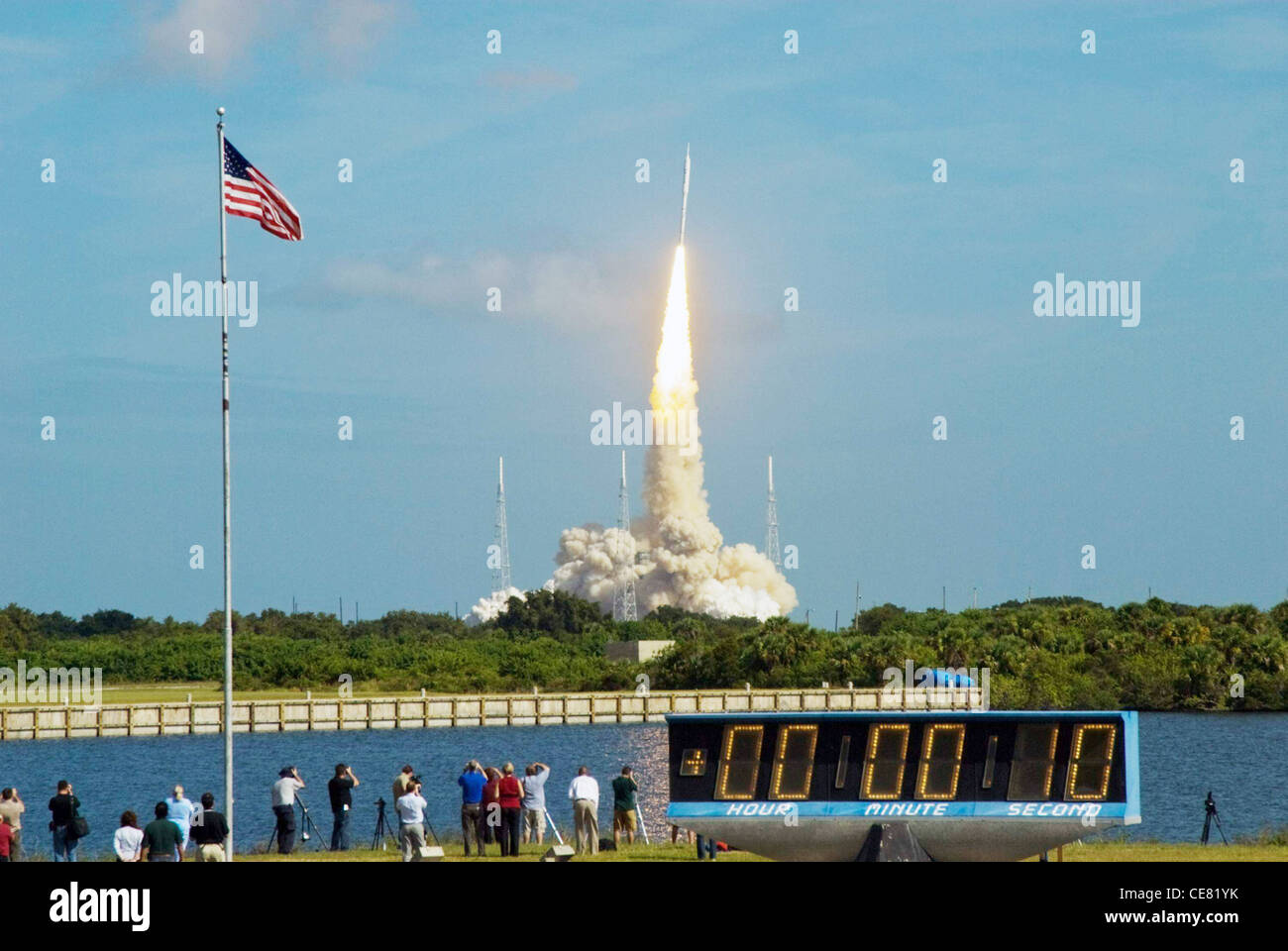 The stars and stripes on the American flag reflect NASA's commitment to teamwork as the Constellation Program's - Stock Image