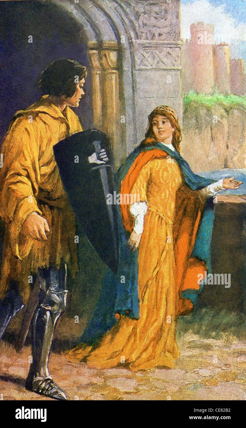 Sir Brune and the damsel who had come to Arthur's court with a black shield, painted on it was a white hand - Stock Image