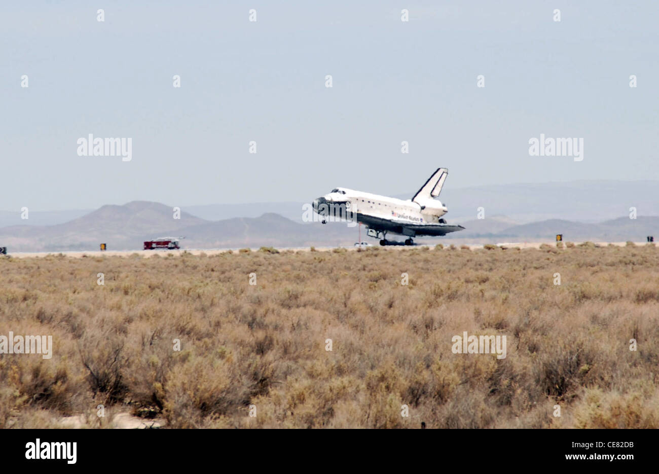 Space Shuttle Atlantis, STS-117, performs a successful landing at Edwards Air Force Base, Calif., on June 22. The - Stock Image