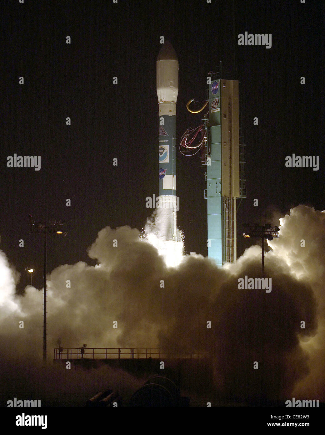 A Delta II rocket carrying a National Oceanic and Atmospheric Administration weather satellite launches from here - Stock Image