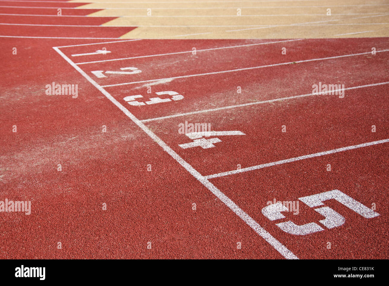 Running track lines with starting numbers - Stock Image