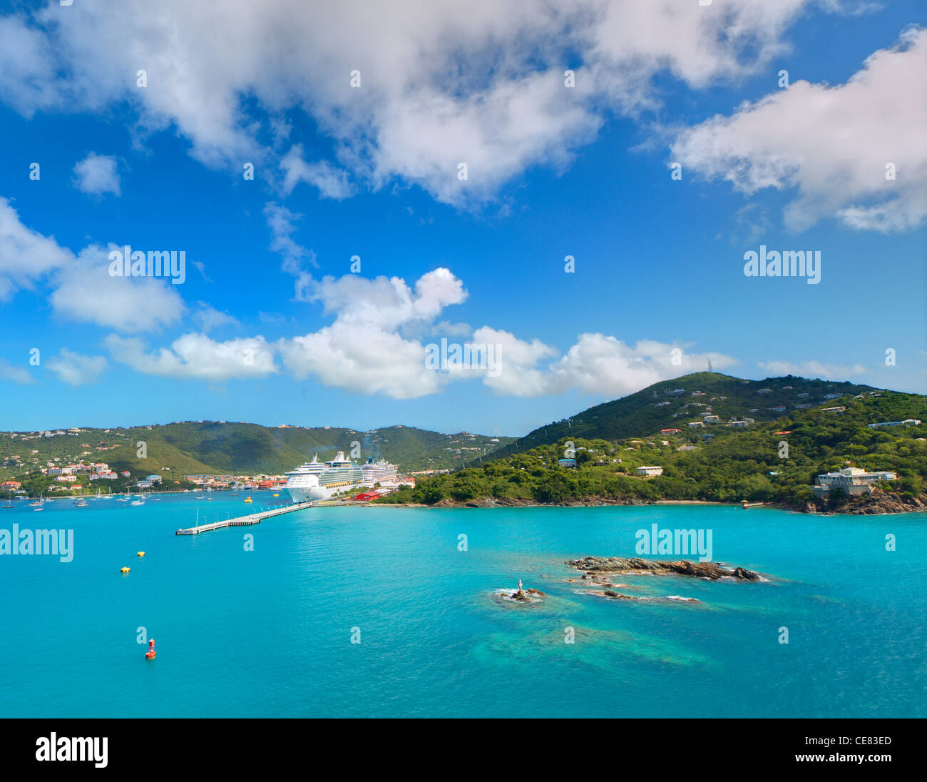 View of Charlotte Amalie, St. Thomas, U.S. Virgin Islands. Stock Photo