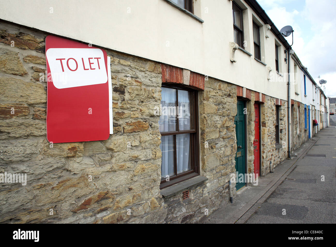 A terraced house to let in Truro, Cornwall, UK - Stock Image