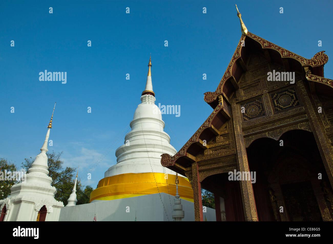 Wat Phra Singh Woramahaviharn is a Buddhist temple in Chiang Mai. Stock Photo