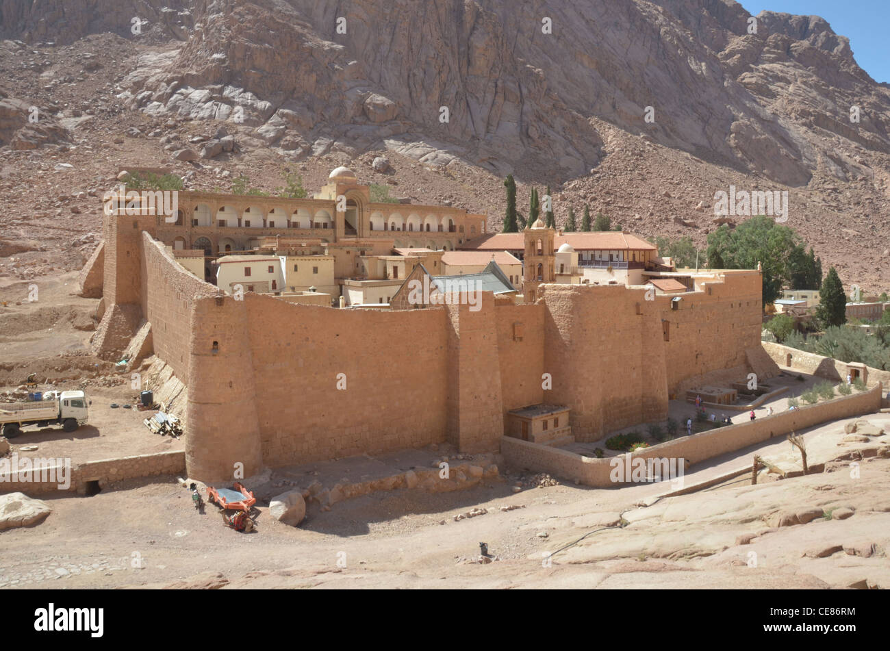 The Greek Orthodox Monastery at Saint Catherine's in the Sinai Desert, existing in the south central Sinai for - Stock Image